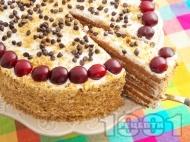 Вкусна сиропирана торта с какаови блатове, сирене маскарпоне, сметана, кондензирано мляко, ром и череши